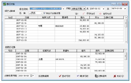 系统将从银行对账单记录中和出纳日记账中将未核对的所有记录分别显示